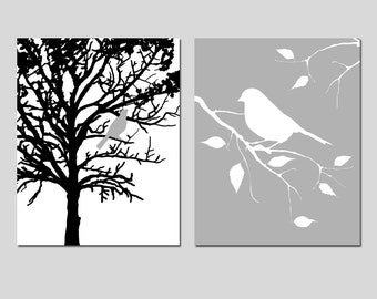 Bird in a Tree and Bird on a Branch - Set of Two 11x14 Nursery Art Prints - Nature - CHOOSE YOUR COLORS - Shown in Gray, Black, White