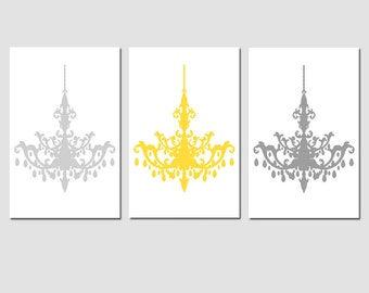 Modern Chandelier Trio - Set of Three 13x19 Chandelier Prints - Wall Art - Teen - Choose Your Colors - Shown in Pale Gray, Yellow, Gray