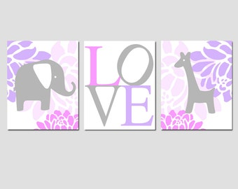 Floral Elephant Giraffe Love Nursery Art Trio - Set of Three 8x10 Prints - CHOOSE YOUR COLORS - Pink, Lilac Purple, Gray, and More