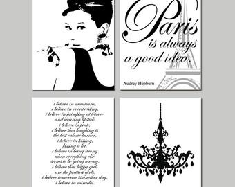 Audrey In Paris - Set of Four 11x14 Prints - Audrey Hepburn, Chandelier, I Believe in Pink, Paris Is Always A Good Idea - Choose Your Colors
