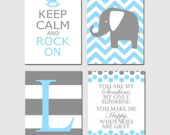 Baby Boy Nursery Art Quad - You Are My Sunshine, Chevron Elephant, Keep Calm Rock On, Initial - Set Four 11x14 Prints - CHOOSE YOUR COLORS