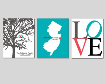 GREAT WEDDING GIFT - Modern Newlywed Trio - Set of Three 8x10 Custom Prints - Love Typography, Family Established Bird Tree, Love State Map