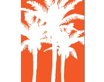Tropical Palms - 11x17 Palm Tree Silhouette Print - CHOOSE YOUR COLORS - Shown in Red Orange, Hot PInk, Yellow, and More