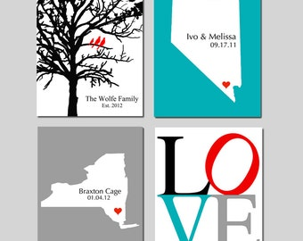 Family Wall Art Set of 4 Prints - Family Tree Date Established, Marriage State, Baby Birth Place, Love - Choose Your Size and Colors