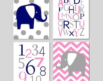 Twin Nursery Art Quad - Set of Four 8x10 Prints - Chevron Elephant, Modern Alphabet, Numbers, Polka Dot Elephant - CHOOSE YOUR COLORS