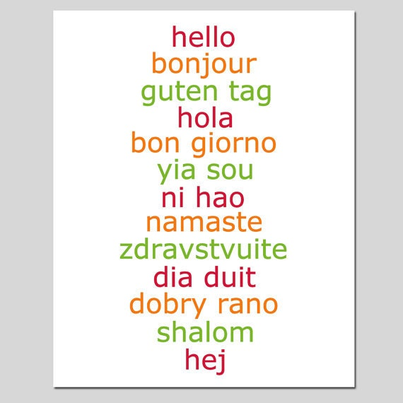 Hello 8x10 Typography Print with Hello in Different