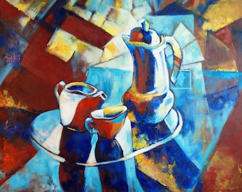 Original Abstract Art - Oil Painting on canvas - COFFEE OR TEA - 24'' x 30'' - Contemporary Wall Art for Modern Design.