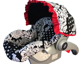 Baby Car Seat Cover - Infant Car Seat Cover - Carrier Slip Cover with Canopy - Carseat Cover for Girl - Black & White Damask with Ruffle