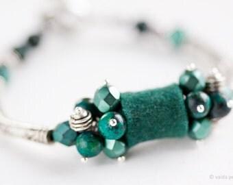 Green bracelet Deep dark emerald green felt and metal bracelet with Chrysocolla gemstones Original bracelet Gift under 50 USD