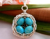 Birds Nest Necklace Solid sterling Silver with Speckled Robins Eggs Gemstone Wire Wrapped