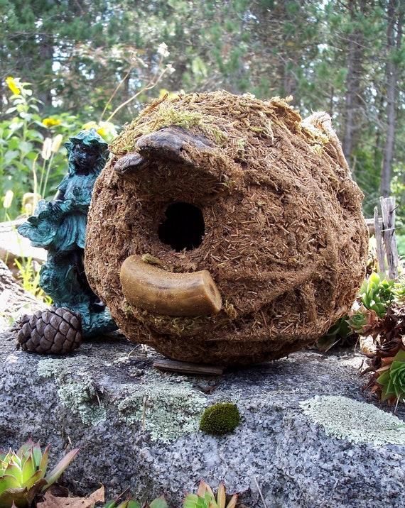 Rustic Woodland Birdhouse with deer antler and mushroom, Outdoor garden art bird house