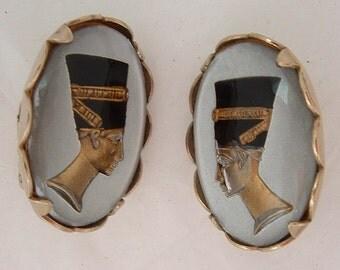 Vintage Nefertiti Egyptian Revival Reversed Carved Intaglio Earrings