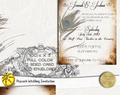 Peacock Wedding Invitations - Custom Printed Personalized Antique Peacock Wedding Invitations -100 Cards with Envelopes and Map