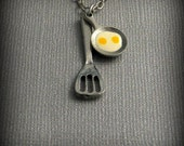 2 Eggs Frying Pan Spatula 3 Dimensional Necklace-White Gold Plated Chain