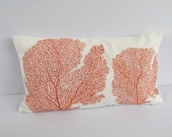 coastal themed pillow  with orange fan coral pillow cover.  ocean inspired. nautical pillow- 12 x18 inch  custom made