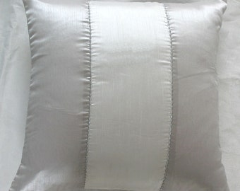 Silver and white throw pillow cover with silver embroidery detail - 40% discount. IN STOCK 4pcs