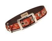 SALE - orange zen floral metal buckle dog collar (3/4 inch)