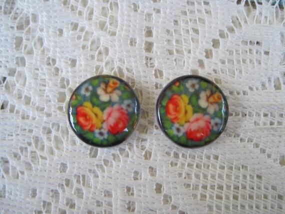 Russian folk mixed Art Flower Cabochons Folk Art Flowers Set of 2 Flower Cabochons 18mm Round unset