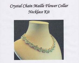 Swarovski Crystal Chain Maille Flower Collar Necklace Kit with Instructions
