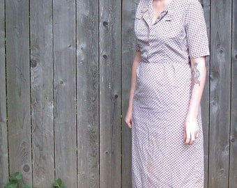 Vintage 1940s Handmade Patterned Dress
