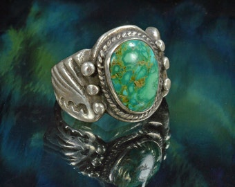 Native American Ring, Size 9, Green Turquoise