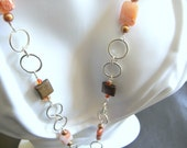 Necklace Rings Bronzite Agate Wire Wrapped Long Beaded