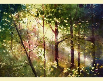 Watercolor Painting PRINT Forest Trees Light Woods Landscape GICLEE 13x18