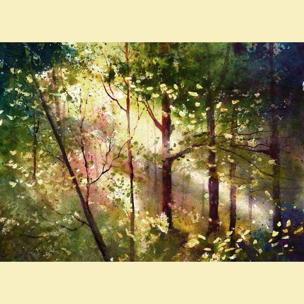 watercolor painting print forest trees light woods landscape