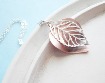 Silver Necklace - Leaf -  Copper and Silver Necklace