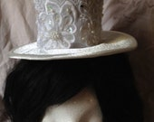 White Satin and Lace Mini Top Hat