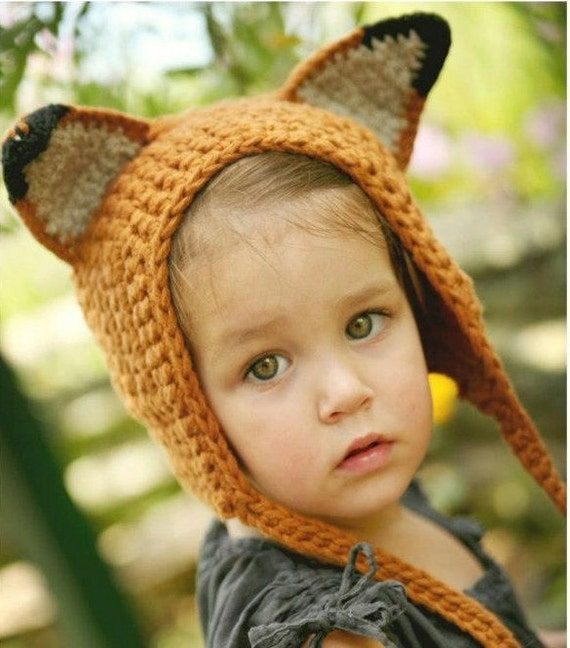 Sweet Lil' Fox Hat - Eco Friendly  Baby Bonnet- Hand Knit - Halloween Costume