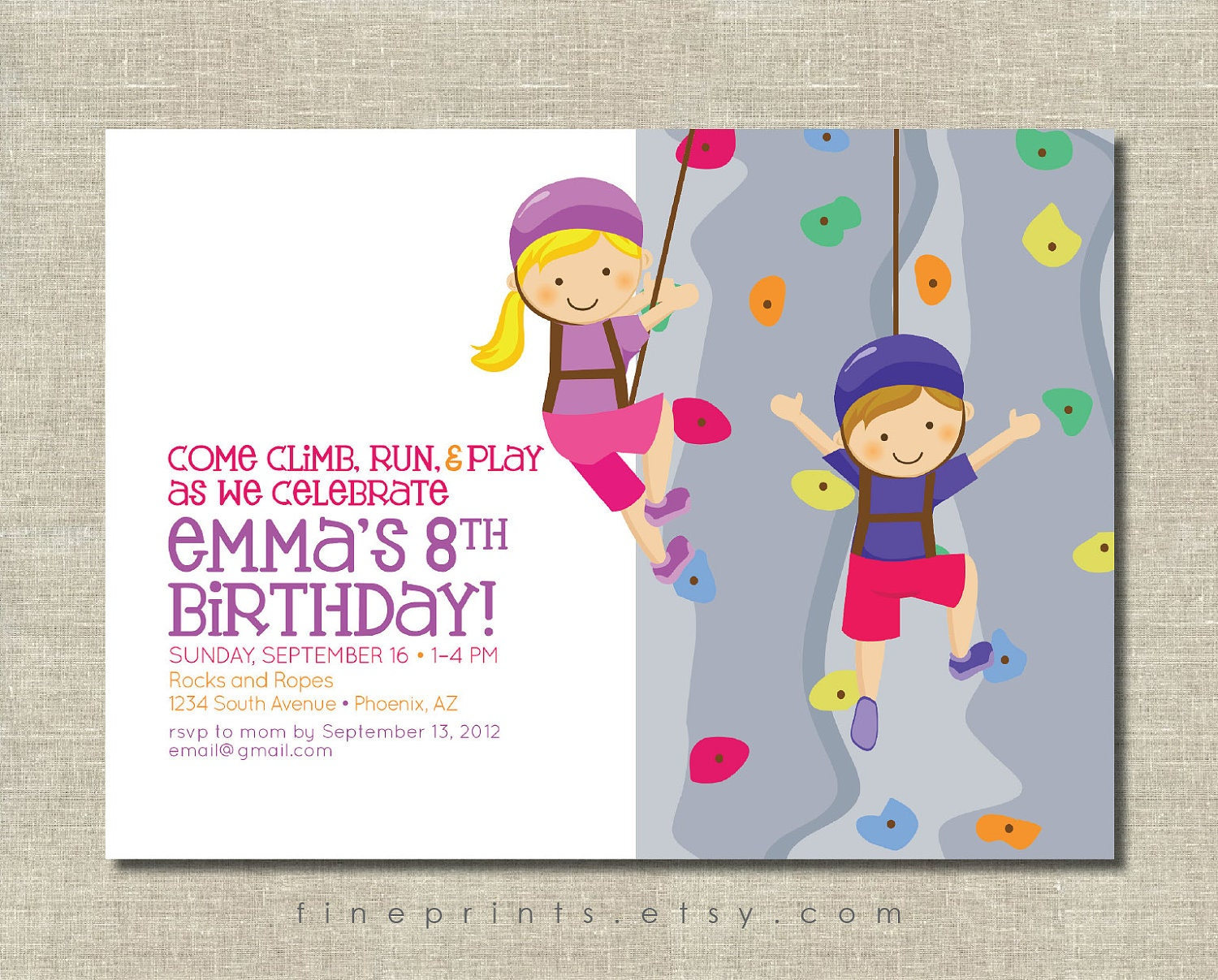 Rock wall climbing party invitation for Wall art templates free