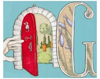 G is for Garden- 9x7.5 Wonderland Alphabet Print