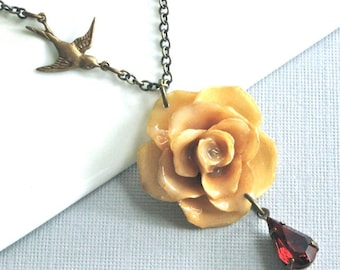 Real Beige Rose Necklace - Bird, Topaz Jewel, Natural Preserved, Brass