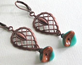 Copper Leaf Earrings - Czech Flower, Turquoise, Brown