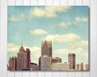City Photography, Michigan Photo, Downtown, Home, Office, Buildings, Skyline, Blue, White Clouds, Motown Photo, Wall Decor - Detroit