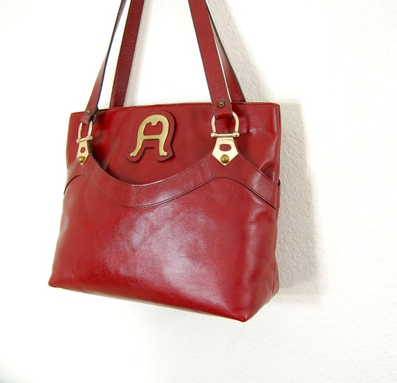 1970s Etienne Aigner oxblood leather tote