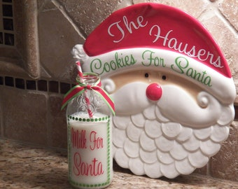 Christmas Cookies for Santa Plate and Milk Glass SET