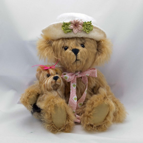 Reserved for Chelsea - Hand Made Mohair Teddy Bear 12 Inches Gabby and Yorkie Dog