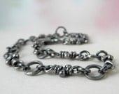 Malena Chain Bracelet, Sterling Silver Linked Bracelets, Rustic Organic Knots, Oxidized Handmade Chain, aroluna Knots Jewelry