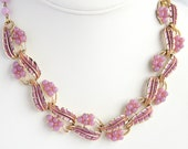 Vintage Lavender Choker Necklace Purple Enamel and Thermoset Signed Coro Adjustable