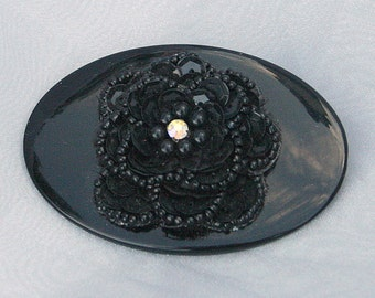 1940s Black Flower Brooch Oval Vintage Beaded Sequin Pin Fabulous Hat or Purse Decoration