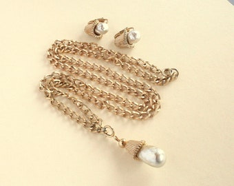 Baroque Pearl Necklace Earrings Set Vintage Sarah Coventry Fashion Parade Chunky Chain