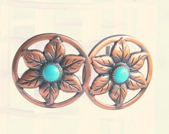 Turquoise Copper Flower Earrings Vintage Round Flowers Open Antiqued Detail Screw Back
