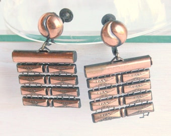 Copper Square Earrings Vintage Layered Articulated Screwback Rafts