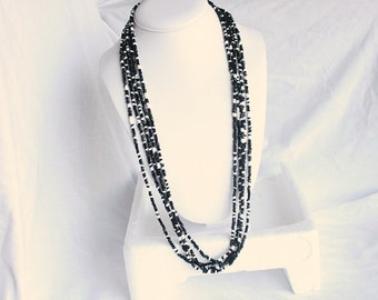 Black White Multi Strand Necklace Vintage Long Glass Seed Beads Torsade