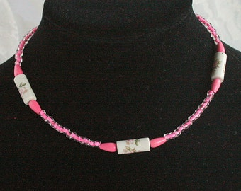 Hot Pink Rose Bead Choker Necklace Vintage Flower Girl Jewelry