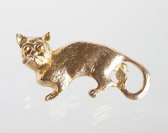 Grumpy Faced Cat Brooch Vintage Kitty Cat Figural Pin
