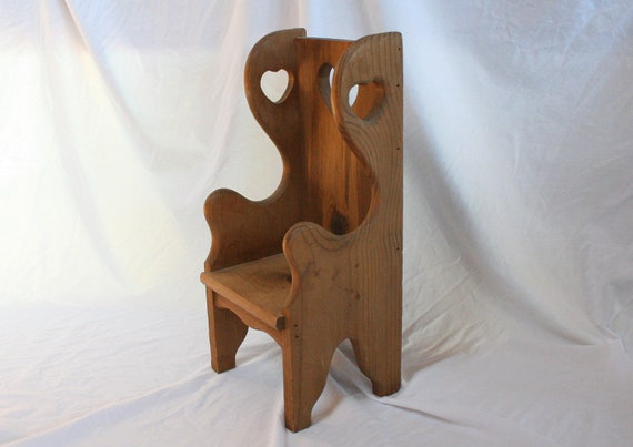 RESERVED for Jessica Casbolt Vintage Wood Doll Chair Heart Cutouts