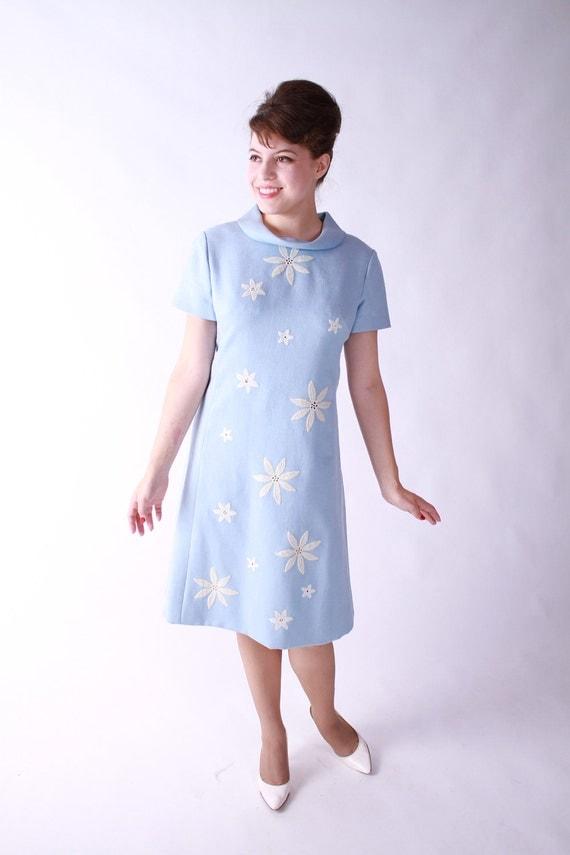 Vintage 1960s Dress - Blue Sheath Dress with White Flower Appliques